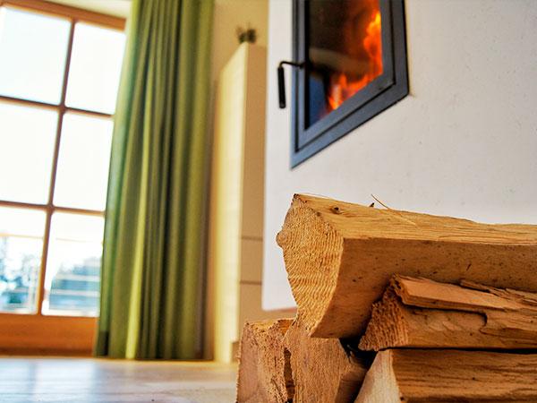 Detailaufnahme des Wohnbereiches der Ferienwohnung Augenweide mit Holzscheiten und Kamin und einem Blick nach Draußen.