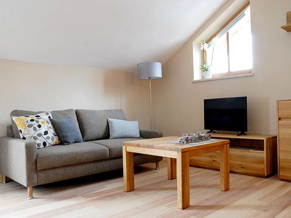 Der helle Wohnbereich mit einem grauen Sofa, Couchtisch und Fernseher lädt in der Ferienwohnung Zaungast zum Entspannen ein.
